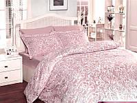 Комплект постільної білизни First Choice Sweta Pudra сатин 220-200 см пудровий, фото 1