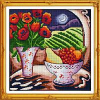 """Вышивка крестиком """"Цветы и фрукты"""" 46*46 см."""