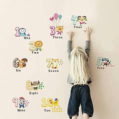 """Наклейка на стену, украшения стены наклейки """"Английские цифры""""  (лист 60*90см) высота 18см"""