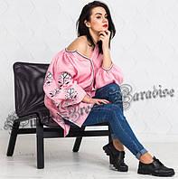 Рожева жіноча сорочка-туніка вишиванка з довгим рукавом (розмір 48UA RU). 2b392767ef6a1