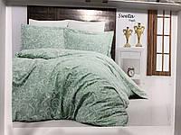 Комплект постільної білизни First Choice Sweta Mint сатин 220-200 см м'ятний, фото 1
