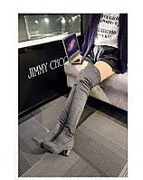 Замшевые супер высокие  ботфорты сапоги - чулки на каблуке  2 цвета, фото 1