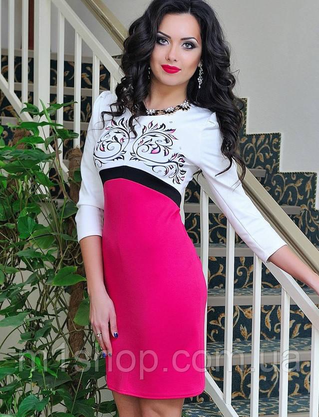 Двухцветное трикотажное платье с узором на груди (0685 svt)