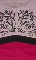 Двухцветное трикотажное платье с узором на груди (0685 svt), фото 3