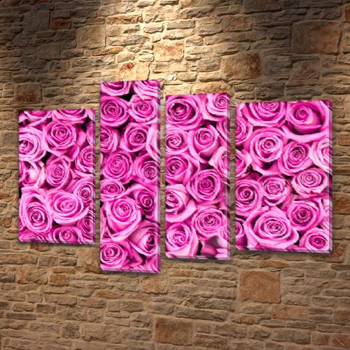 Картина модульная Розовые розы на Холсте син., 65x85 см, (40x20-2/65х18/50x18)