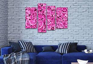 Картина модульная Розовые розы на Холсте син., 65x85 см, (40x20-2/65х18/50x18), фото 3