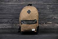 Рюкзак городской Vans Вэнс их хлопка коричневый (реплика)