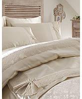 Покрывало+шелковый постельный комплект KARACA HOME TUGCE беж