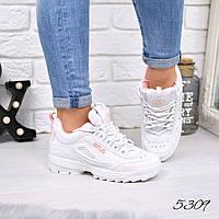Кроссовки женские Fila Raptor белые + персик эко 5309, спортивная обувь, фото 1