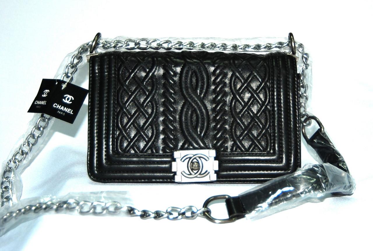 a7861133b3c5 Женская сумка клатч Chanel Boy (Шанель Бой) 9003 большая черная -  Shoppingood в Харькове