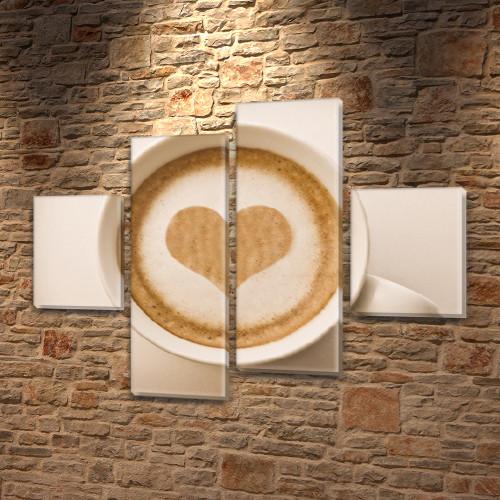 Картина модульная Мое кофе  для кухни купить, на Холсте син., 65x80 см, (25x18-2/55х18-2)