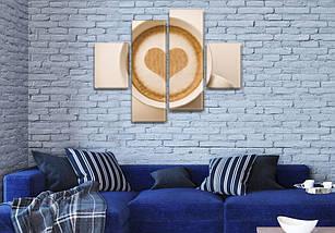 Картина модульная Мое кофе  для кухни купить, на Холсте син., 65x80 см, (25x18-2/55х18-2), фото 3