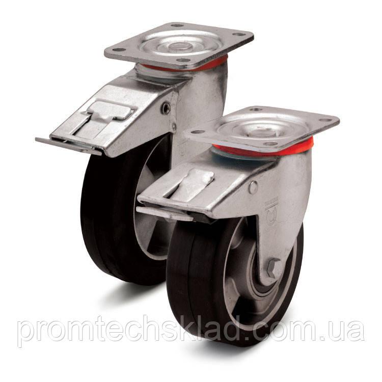 Колесо эластичное поворотное с тормозом 160 мм Германия