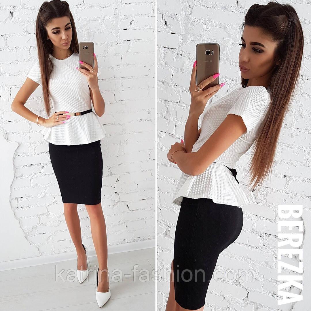fc9d7dd6c3b Женский черно-белый костюм  баска и юбка (пояс отдельно)  продажа ...