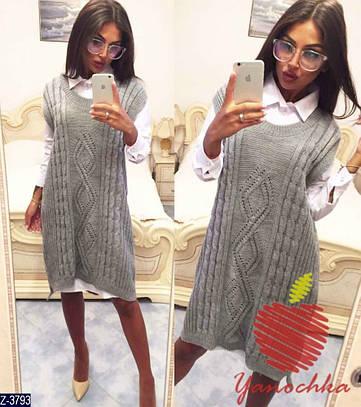 Женский осенний костюм (рубашка+жилет)