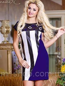 Женское платье в полоску и перфорацией (0717 svt)