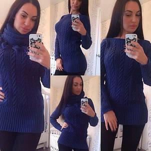 Женский тёплый свитер хомут, фото 2