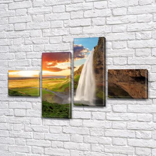 Модульные картины на заказ в трех размерах с тремя материалами, на Холсте син., 60x85 см, (18x20-2/50х18-2)