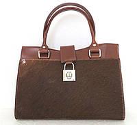 Женская сумка кожаная с натуральным мехом. Италия Коричневый, фото 1