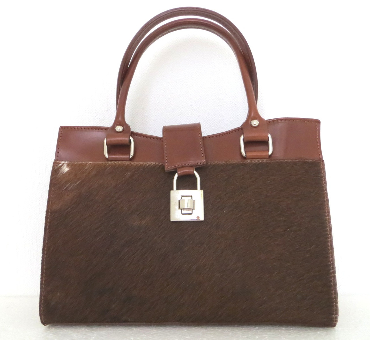 Женская сумка кожаная с натуральным мехом. Италия Коричневый