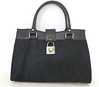 Женская сумка кожаная с натуральным мехом. Италия Черный
