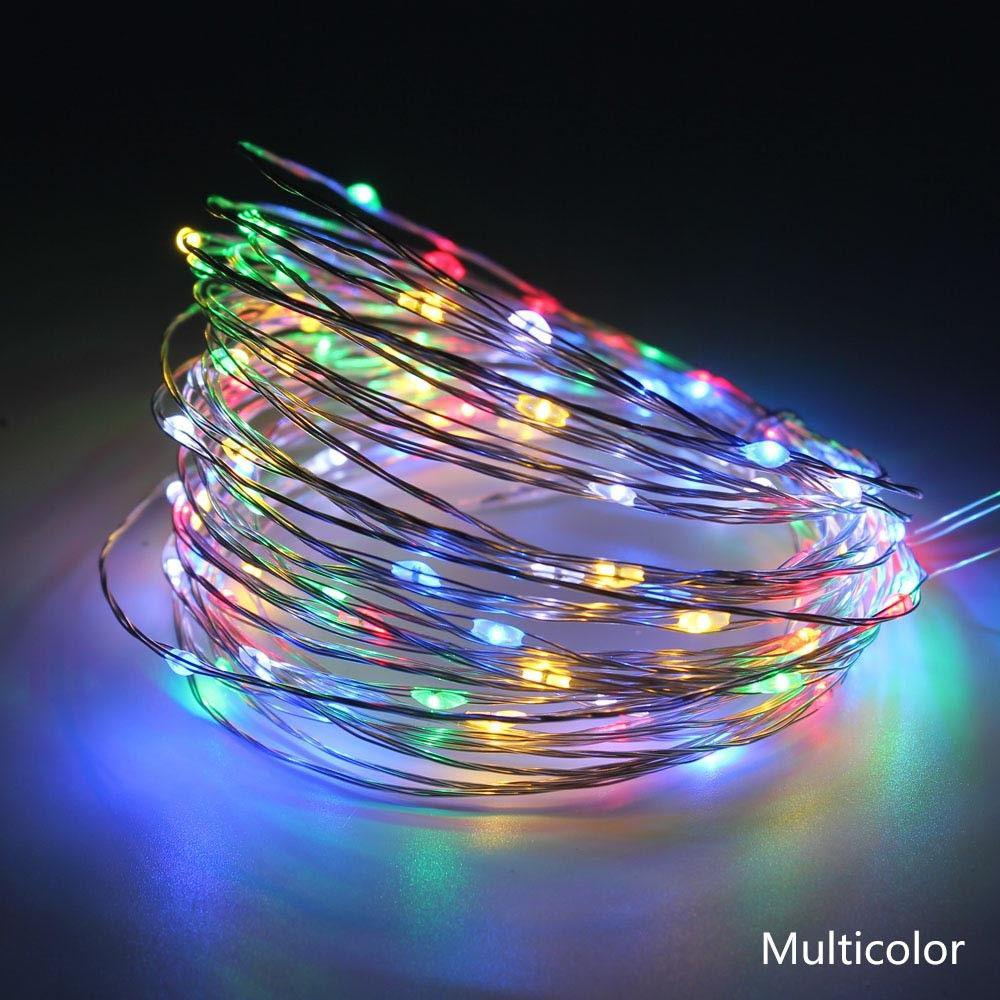 Светодиодная гирлянда нить 10м 100led на батарейках разноцветная RGB
