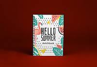 Sketchbook Hello Summer Скетчбук Лето Фламинго белые листы на пружине 80г, фото 1