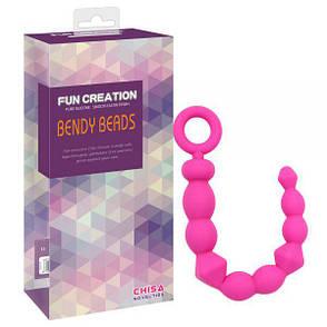 Анальная цепочка Bendy Beads, розовая, фото 2