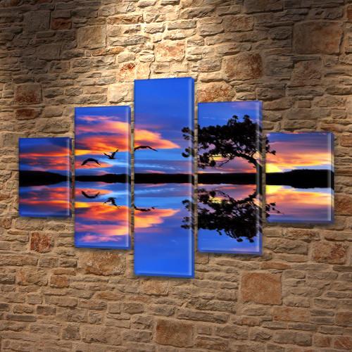 Модульные картины на заказ в трех размерах с тремя материалами, на Холсте син., 65x100 см, (25x18-2/45х18-2/80x18)