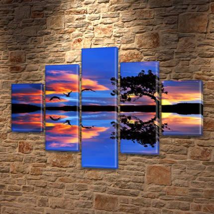 Модульные картины на заказ в трех размерах с тремя материалами, на Холсте син., 65x100 см, (25x18-2/45х18-2/80x18), фото 2