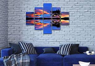 Модульные картины на заказ в трех размерах с тремя материалами, на Холсте син., 65x100 см, (25x18-2/45х18-2/80x18), фото 3