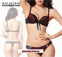 Шикарный комплект женского нижнего белья Balaloum бордо, бюстгальтер ПушАп и трусики стринги. Опт и розница.