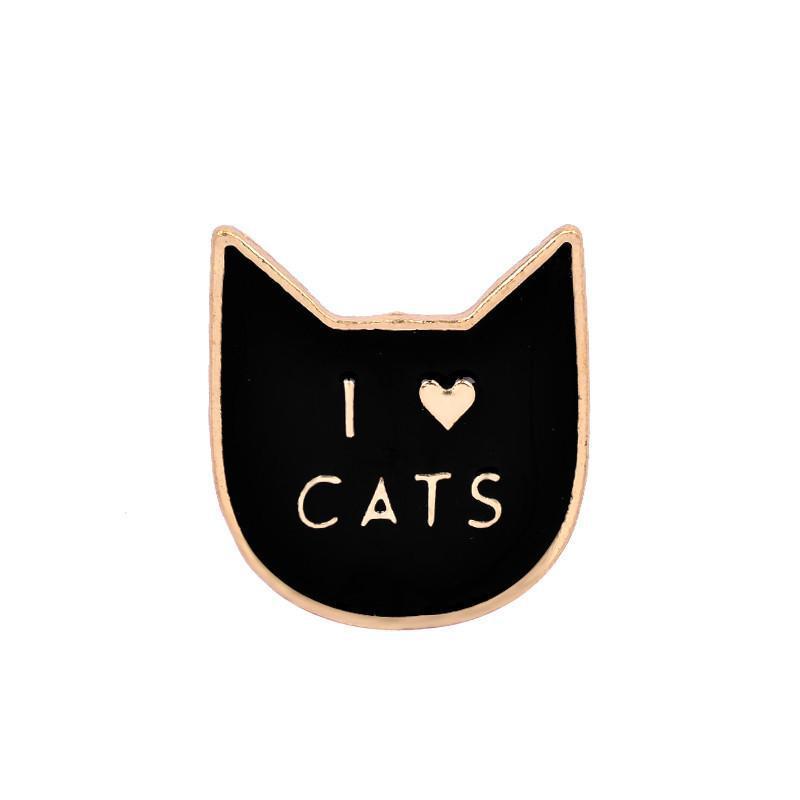 Брошь пин значок I love cats Я люблю котов