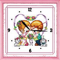 """Вышивка крестиком """"Часы. Детские сердца"""" 35*35  см."""
