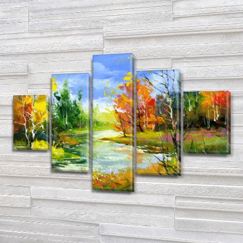 Купить модульную картину на Холсте син., 65x100 см, (25x18-2/45х18-2/80x18)