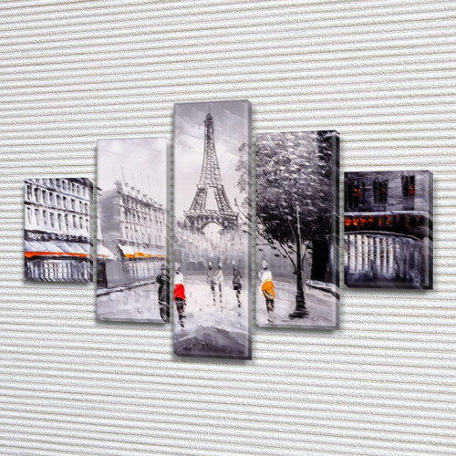 Картина  модульная Прогулки по Парижу на Холсте син., 65x100 см, (25x18-2/45х18-2/65x18)