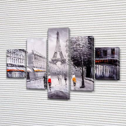 Картина  модульная Прогулки по Парижу на Холсте син., 65x100 см, (25x18-2/45х18-2/65x18), фото 2