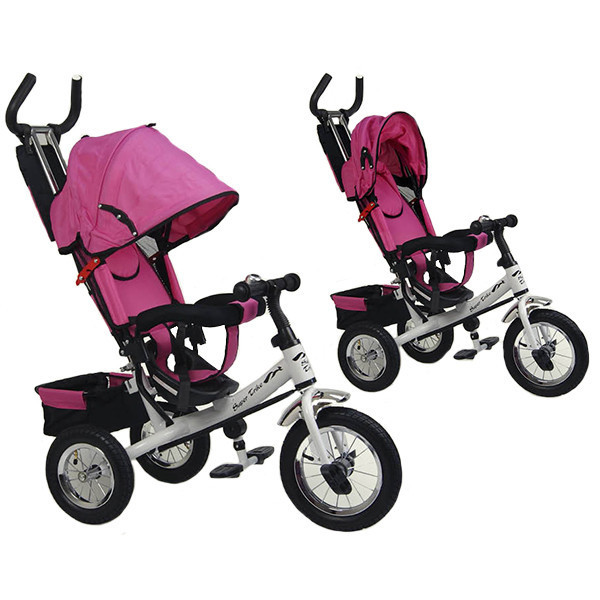 dae03bb6705fb Детский трехколесный велосипед VT1437 розовый, надувные колёса +бесплатная  доставка