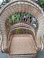 Кресло плетеное с оригинальным дизайном коричневое, фото 1