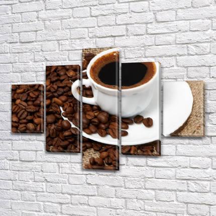Картина  модульная Кофе для шефа, на Холсте син., 65x100 см, (25x18-2/45х18-2/65x18), фото 2