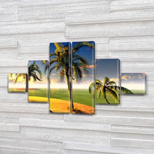 Модульные картины в спальню купить на Холсте син., 65x120 см, (18x18-2/40х18-2/65x18-2)