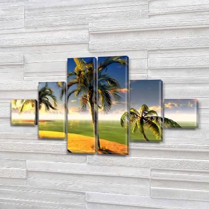 Модульные картины в спальню купить на Холсте син., 65x120 см, (18x18-2/40х18-2/65x18-2), фото 2
