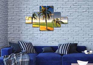 Модульные картины в спальню купить на Холсте син., 65x120 см, (18x18-2/40х18-2/65x18-2), фото 3