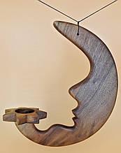 Месяц (Луна) деревяный подсвечник 28см | Місяць деревяний підсвічник 28см