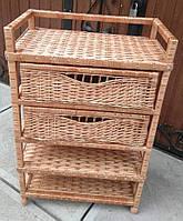 Комод плетений на 3 полиці і 2 шухляди, фото 1