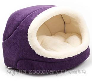 """Домик - лежак  """"Комфорт"""" фиолетовый 42х28х27см для кошек и собак"""