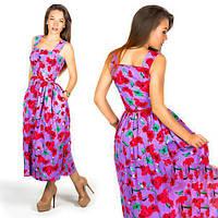 Платье женское длинное льняное в цветочный принт (К23603)