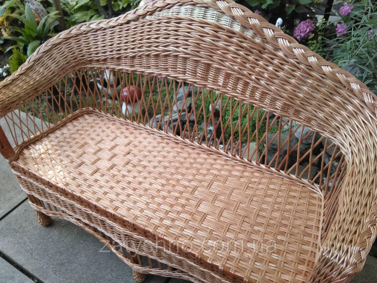 Плетеный диван кофейный большой