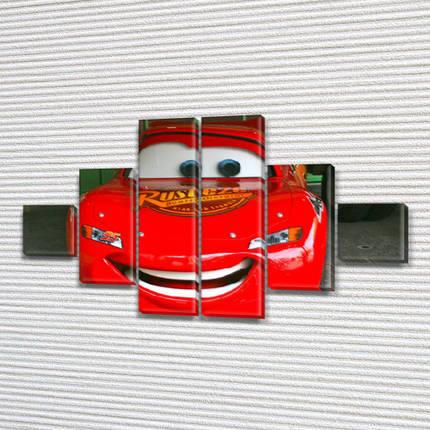 Модульная картина Тачки  на стену детской, на Холсте син., 65x120 см, (18x18-2/40х18-2/65x18-2), фото 2