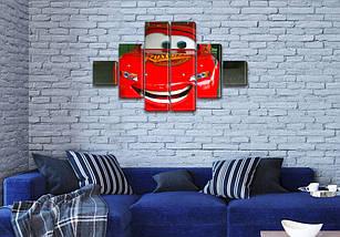 Модульная картина Тачки  на стену детской, на Холсте син., 65x120 см, (18x18-2/40х18-2/65x18-2), фото 3